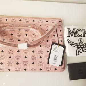 MCM Visetos Logo Medium Pouch/Crossbody Pink